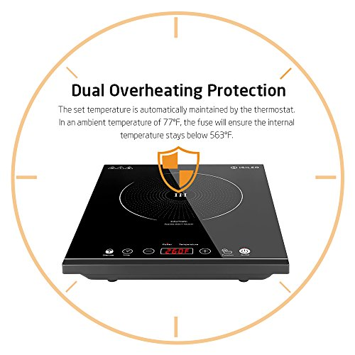 Portable Induction Cooktop, iSiLER 1800W Sensor Touch Electric Induction Cooker Cooktop with Kids Safety Lock, Countertop Burner Suitable for Cast Iron, Stainless Steel Cookware by iSiLER (Image #3)
