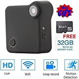 P2P Camera WiFi Remote View DENT Products - Free 32 gb Micro SD Card Included, HD 720p Spy Hidden IP Pet Nanny Drone Body Cam, Wearable Mini Square Magnetic Security Camera WiF