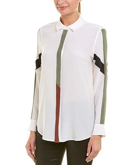 4c1d0e76efc554 Equipment Women's Sandwashed Crepe De Chine Silk Essential Blouse  W/Contrast, Bright White,