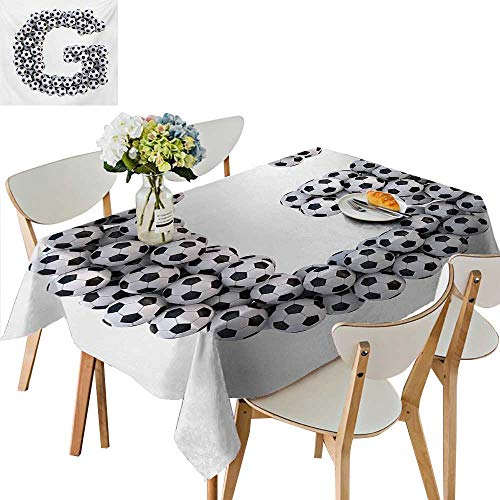(Indoor/Outdoor Tablecloth,Goal Themed Footballs Alphabet Soccer Arrangement Capital Letter Composition Table Cover for Dining Room and Party,49W x 88.5L Inches Navy Blue and White)