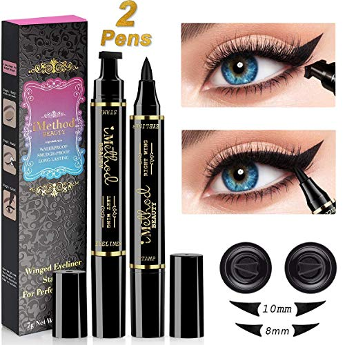 iMethod Wing Eyeliner Stamp - 2 Pens Left & Right Dual Ended Liquid Winged Eye Liner Pen, Perfect Winged Cat Eye Look, Waterproof, Smudgeproof and Sweatproof, Vamp Style Wing, No Dipping Required (Best Liquid Eyeliner For Hooded Eyes)