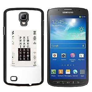 LECELL--Funda protectora / Cubierta / Piel For Samsung Galaxy S4 Active i9295 -- Imprimir cartel minimalista Blanco Negro --