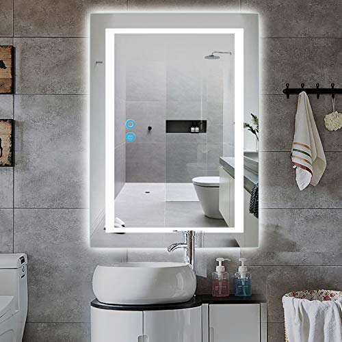 PexFix 20 x 28 inch Bathroom Vanity Mirror, LED Backlit+Wall Mounted+Antifog & -