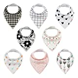 ALVABABY Bandana Drool Bibs 8 Pack of Drooling Teething Feeding,Super Absorbent 100% Cotton For Boys and Girls Newborn Infant Toddler Baby Gifts SKX07-CA