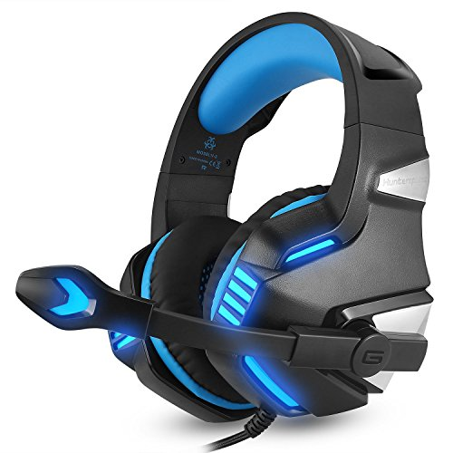 (Mic LED HeadphonesFor MAC PC PS4 Xbox one Hunterspider V3 3.5mm Gaming Headset (Blue, Free Size))