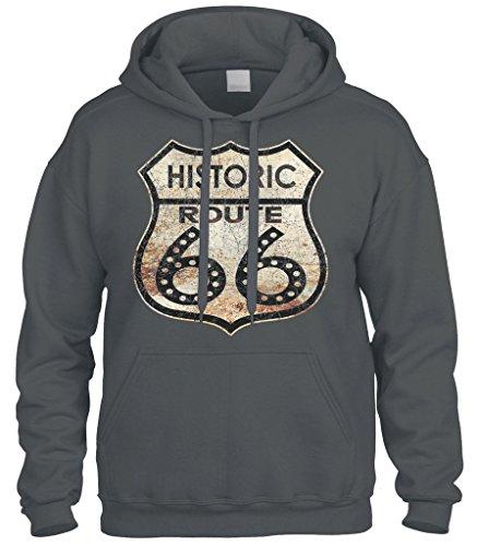 Cybertela Historic Route 66 Sweatshirt Hoodie Hoody (Charcoal, Large)