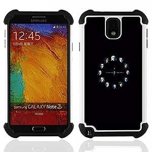 """SAMSUNG Galaxy Note 3 III / N9000 / N9005 - 3 en 1 impreso colorido de Altas Prestaciones PC Funda chaqueta Negro cubierta gel silicona suave (Tronos Serie"""")"""