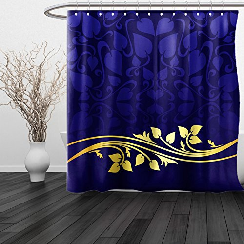 HAIXIA Shower Curtain Navy Blue Romantic Royal Leaf Pattern with Golden Floral Branch with Leaves Dark Blue and Gold (Dark Bronze Golden Retriever)
