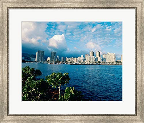 Buildings on The Waterfront, Waikiki Beach, Honolulu, Oahu, Hawaii, USA Framed Art Print Wall Picture, Silver Scoop Frame, 28 x 24 inches