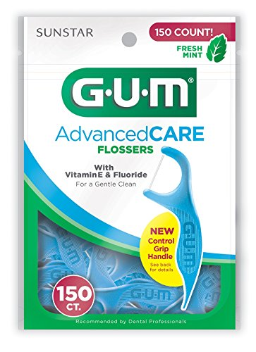 Sunstar 888J GUM Fresh Mint Flavor Advanced Care Flosser with Vitamin E (Pack of 150)