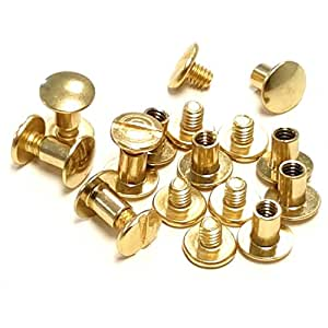 """10 pack 1/4"""" Brass Plated Gold Chicago Screws Leather Repair Screw Post Fastener"""
