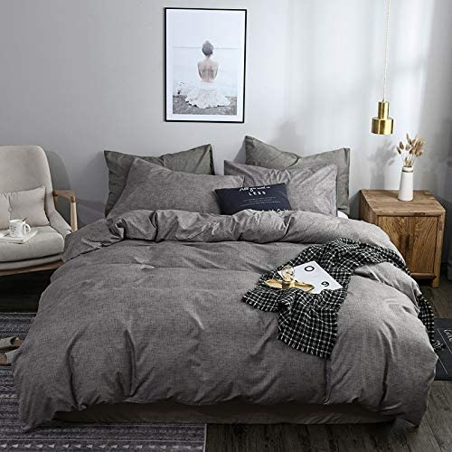 Charcoal Grey Reversible Farmhouse Duvet Covers Modern Solid Colored Bedding Microfiber Chambray Comforter Quilt Cover for Men Women