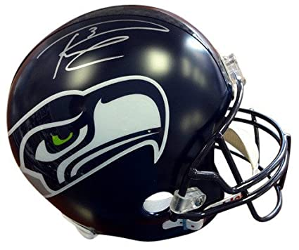 Russell Wilson Signed Seattle Seahawks Riddell Football Helmet In Silver RW  - Autographed NFL Football Helmets 41319842e