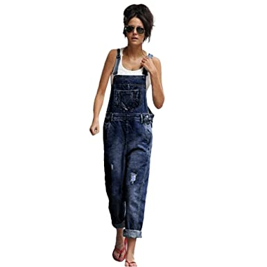47ebbdb4b Ratoop Women's Baggy Dungarees, Loose Denim Jeans Pants Hole Overalls  Straps Jumpsuit Rompers Trousers (