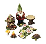 Set of 7 Cute Miniature Garden Gnome Scene Figurines for Terrariums, Miniature Gardens, and Fairy Gardens (Gnome, Flowers, Turtle, Tree House)