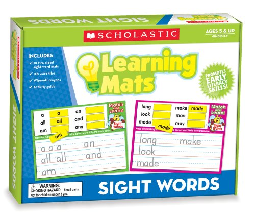 Scholastic Teacher's Friend Sight Words Learning Mats, Multiple Colors (TF7106) -