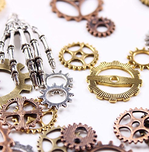 38PCS 100g Antiqued Bronze Clock Face Charm Pendant JIALEEY Wholesale Bulk Lots Mixed Gears Steampunk Charms Pendants DIY for Necklace Bracelet Jewelry Making and Crafting