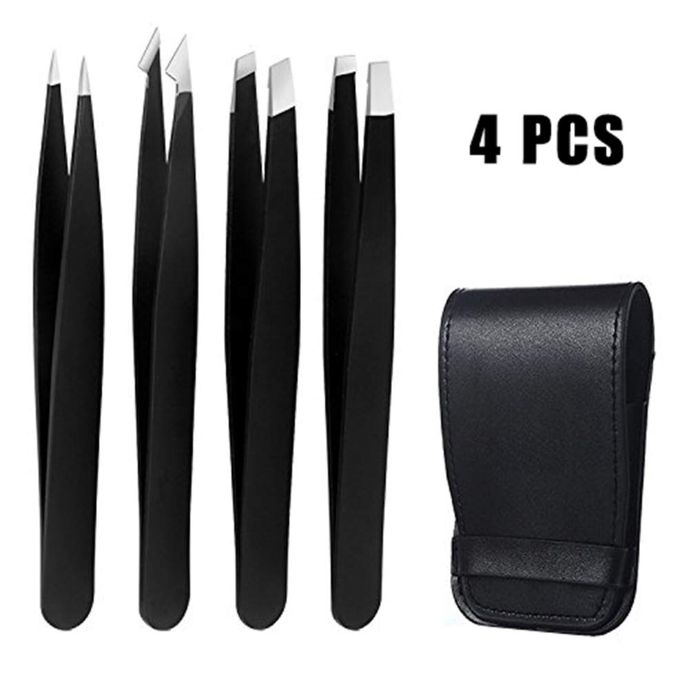 Tweezers Set, Beyond Professional 4-Piece Stainless Steel Tweezers with Travel Case, for Eyebrow, Splinter & Ingrown Hair Removal, Includes Slant, Flat, Point & Point/Slant