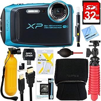 Fujifilm FinePix XP120 Compact Rugged Waterproof Digital Camera (Sky Blue) + 32GB Deluxe Accessory Bundle