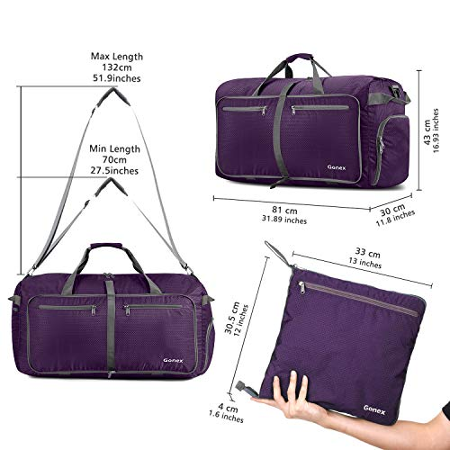 Gonex 100L Foldable Travel Duffel Bag for Luggage Gym Sports, Lightweight Travel Bag with Big Capacity, Water Repellent (Purple)