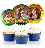 12 Beauty and The Beast Movie Birthday Inspired Party Picks, Cupcake Picks, Cupcake Toppers #1