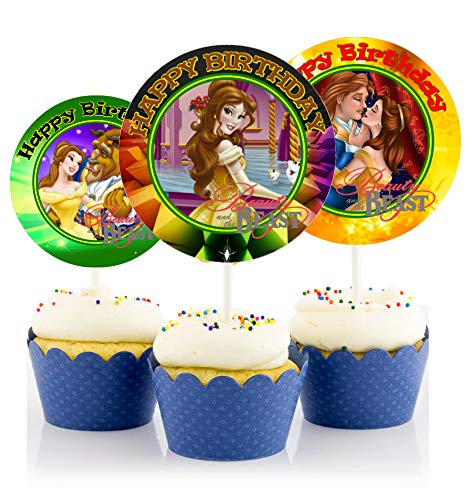 12 Beauty and The Beast Movie Birthday Inspired Party Picks, Cupcake Picks, Cupcake Toppers #1 by Crafting Mania LLC.