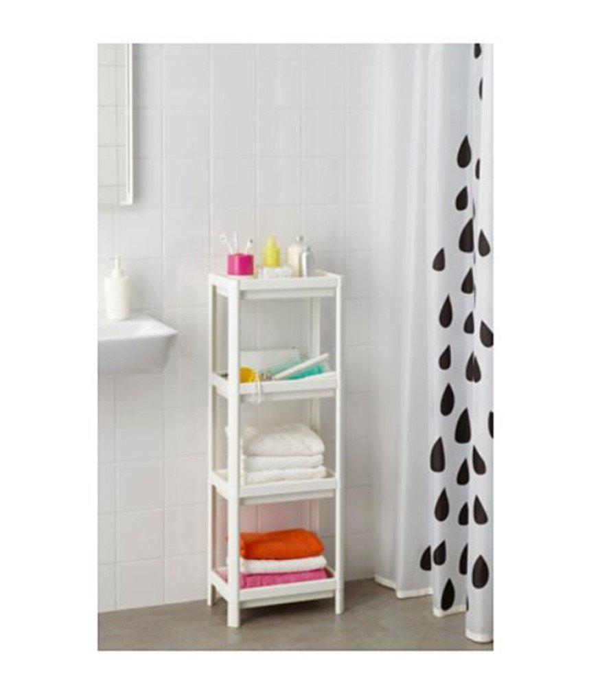 Ikea Vesken - Estantería con 4 niveles, color blanco (36 x 23 x 100 cm)