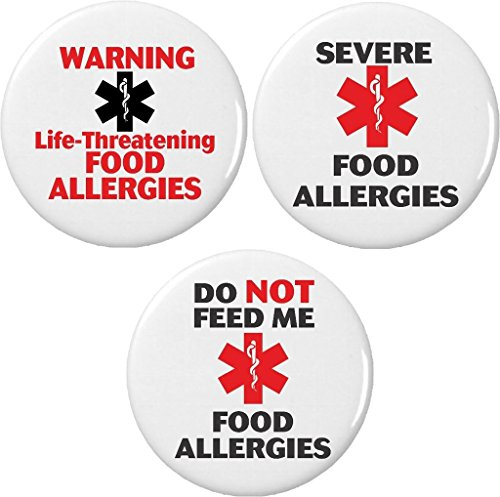 """Warning Button (Set 3 Warning Life Threatening Food Allergies / Do Not Feed 1.25"""" Buttons Pins)"""