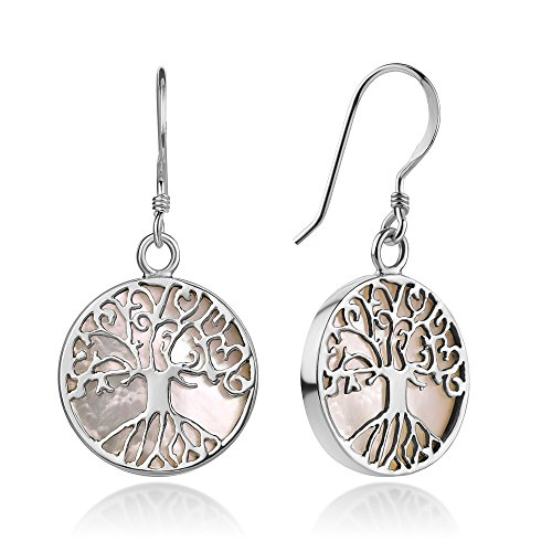 Sterling Silver Filigree Tree of Life Symbol White Mother of Pearl Shell Dangle Earrings 1.3