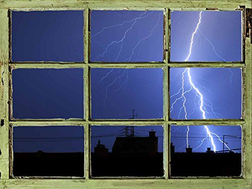 Window View Wall Mural Lightning in Dark Night Sky Vintage Style Wall Decor Peel and Stick Adhesive Vinyl Material