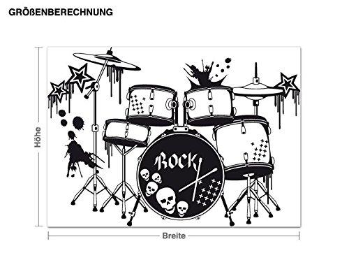 Klebefieber Wandtattoo Wandtattoo Wandtattoo Schlagzeug B x H  100cm x 71cm Farbe  Schwarz B072F3PV78 Wandtattoos & Wandbilder 88503d