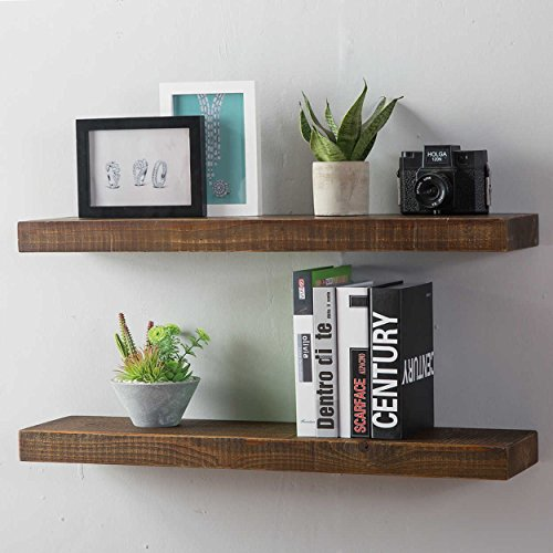 HSH Furniture Rustic Wall Shelf, Reclaimed Solid Wood Floating Shelf, Vintage Industrial Antique Mounted Wooden Shelving, Natural Pine, 30 Inch, Set of 2