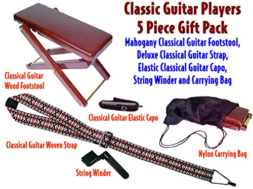 Performance Plus Wood Classical Guitar Foot Stool Package with Strap, Capo and String Winder by Performance Plus