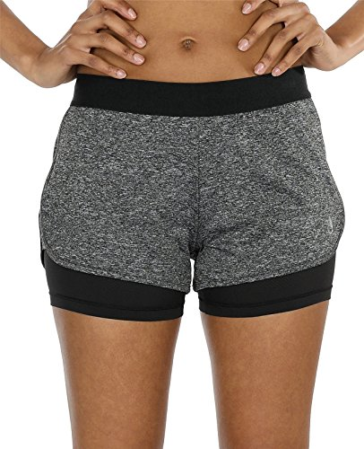 icyZone Running Yoga Shorts For Women - Activewear Workout Exercise Athletic Jogging Shorts 2-in-1 (Charcoal, - Without Shorts Liner Running