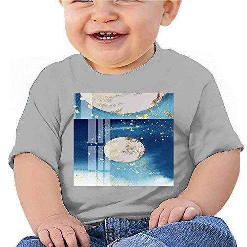 Hariiuet Boys Basic T-Shirt A Round of Moon Hangs high Above and There is a Small Boat Below. Baby T-Shirt Gray