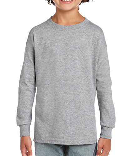 Gildan Kids' Little Ultra Cotton Youth Long Sleeve T-Shirt, 2-Pack, Sport Grey Medium