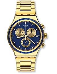 SWATCH MEN'S GOLD TONE STEEL BRACELET & CASE QUARTZ BLUE DIAL WATCH YVG402G