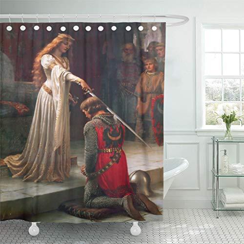 Semtomn Shower Curtain Painting Accolade by Edmund Blair Portrait Knight Queen Princes 72