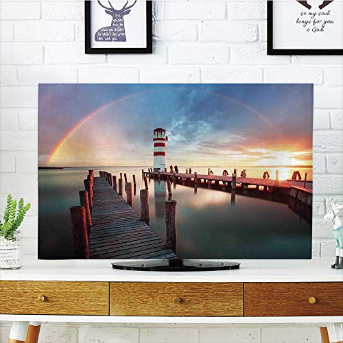 iPrint LCD TV Cover Lovely,Lighthouse Decor,Sunset at Seaside with Wooden Docks Lighthouse Clouds Rainbow Waterfront Reflection,Multi,Diversified Design Compatible 47