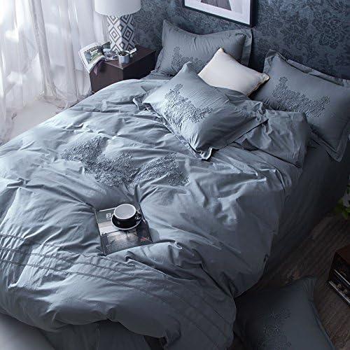 BB.er ropa de cama de algodón puro establece una serie fresca pequeña puntilla sencilla con colores sólidos kit textil transpirable suave, azul-gris: Amazon.es: Hogar