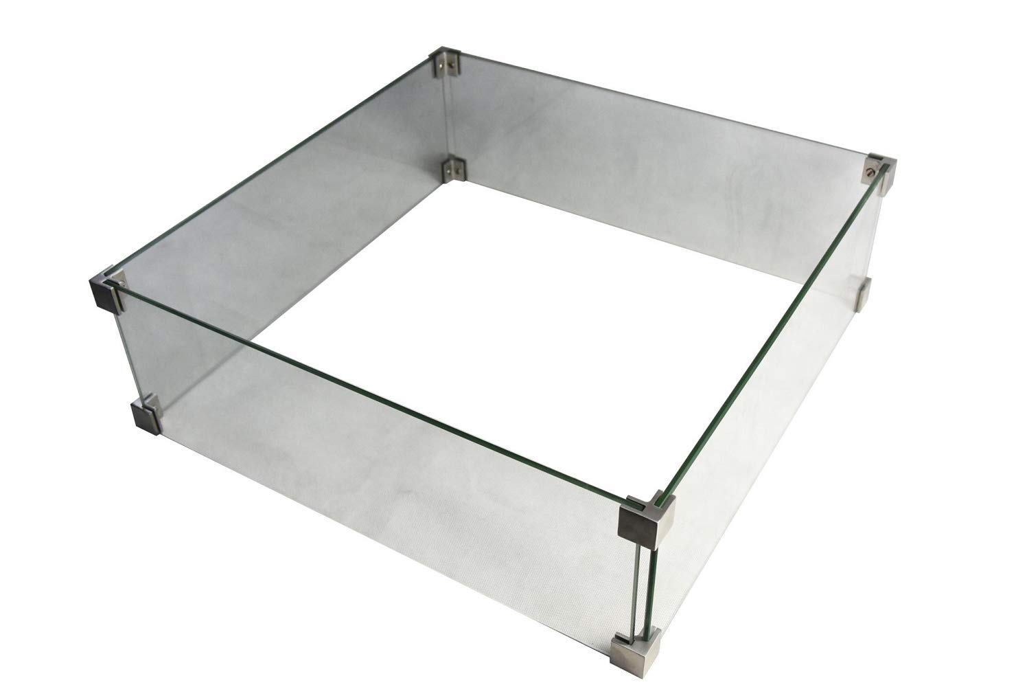Elementi Outdoor Manhattan Fire Pit Table Tempered Glass ScreennSquare 22 x 22 x 7 inches Heavy Duty Firepit Accessory Wind Screen, Clear