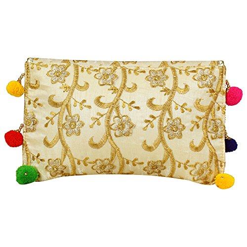 Cream Cluch Handicraft Bag Indian Cluch Hand Purse Evening Handicraft wO18Yqt