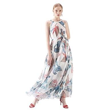 a8d5c684577e Chicwish Women's Tropical Floral Watercolor White Maxi Slip Floral Chiffon  Dress