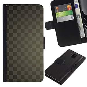 LASTONE PHONE CASE / Lujo Billetera de Cuero Caso del tirón Titular de la tarjeta Flip Carcasa Funda para Samsung Galaxy Note 3 III N9000 N9002 N9005 / Texture Checkered Gray