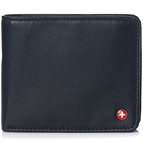 Alpine Swiss RFID Mens Leather Wallet Deluxe Capacity Coin Pocket Bifold With Divided Bill Section Soft Nappa Black (Coin Pocket Wallet)