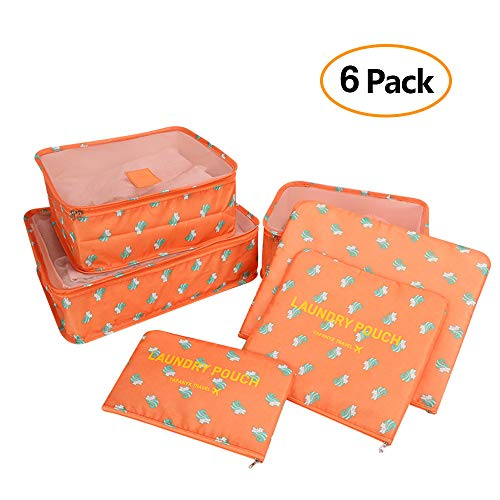 6 Set Travel Luggage Packing Organizers Cubes, Mesh Luggage Cloth Bag Cubes and Compression Laundry Bag Secret Pouches (Light Orange)