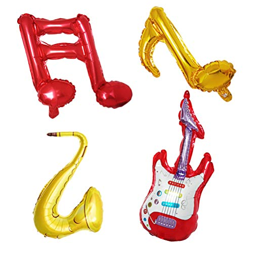 TOYANDONA 6PCS Musical Note Aluminum Foil Balloons Guitar Saxophone Birthday Party Balloons Baby Shower Party Decorations (Red Guitar) ()