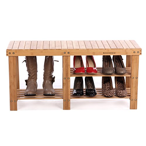 SONGMICS Bamboo Shoe Bench with boots and shoes on shelves