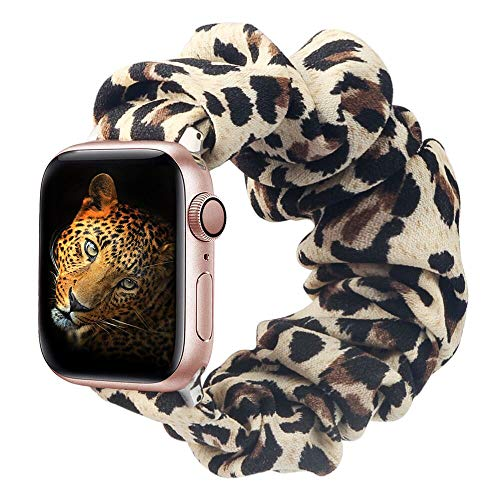 BMBMPT Scrunchie Elastic Watch Band Compatible with Apple Watch Band 38mm 40mm 42mm 44mm Cloth Soft Pattern Printed Fabric Wr