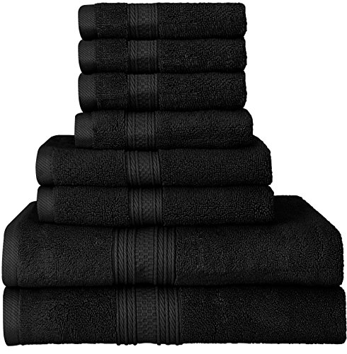 Utopia Towels Luxurious 700 GSM Thick 8 Piece Towel Set in Black; 2 Bath Towels, 2 Hand Towels and 4 Washcloths - 100% Ring-Spun Cotton, Hotel Quality for Maximum Softness and High Absorbency